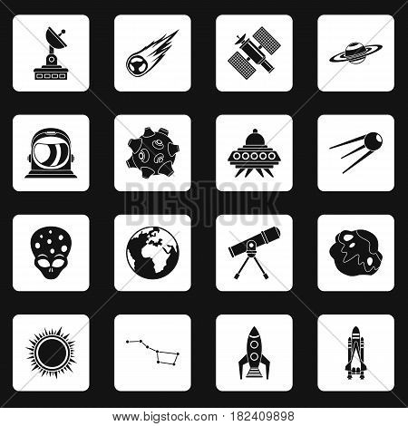 Space icons set in white squares on black background simple style vector illustration