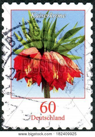 GERMANY - CIRCA 2013: A stamp printed in Germany shows a flower Fritillaria imperialis circa 2013