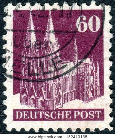 GERMANY - CIRCA 1948: A stamp printed in Germany (American and British Zone) shows the Cologne Cathedral circa 1948