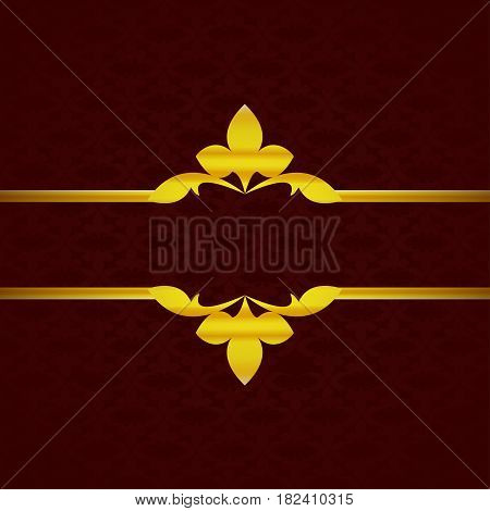 Dark Red Luxury Background With Gold Ornament From Petals Vintage