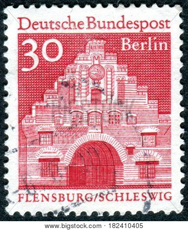 GERMANY - CIRCA 1967: A stamp printed in Germany (West Berlin) shows Flensburg city northern gate (Nordentor) circa 1967