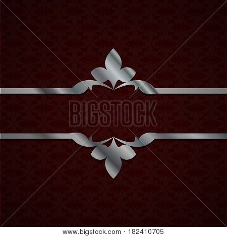 Luxury Dark Red Background With A Silver Ornament From Petals. Vintage