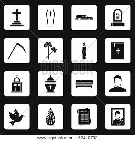 Funeral icons set in white squares on black background simple style vector illustration
