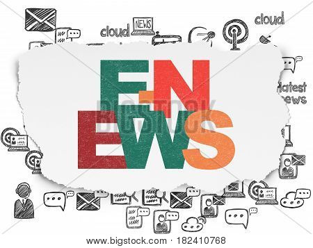 News concept: Painted multicolor text E-news on Torn Paper background with  Hand Drawn News Icons