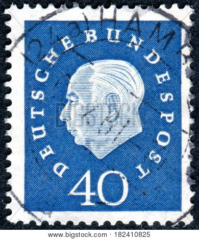 GERMANY - CIRCA 1959: A stamp printed in Germany shows the 1st President of the Federal Republic of Germany Prof. Dr. Theodor Heuss circa 1959