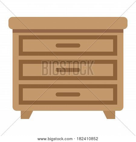 Drawer unit flat icon, Furniture and interior element, vector graphics, a colorful solid pattern on a white background, eps 10.