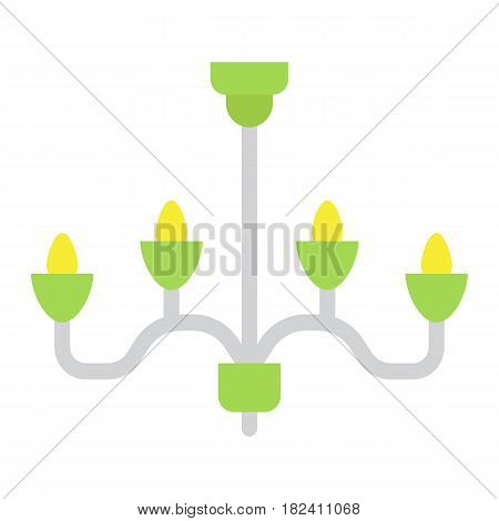 Chandelier flat icon, Furniture and interior element, ceiling lamp vector graphics, a colorful solid pattern on a white background, eps 10.
