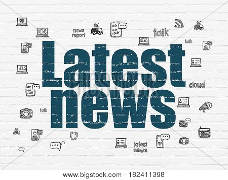 News concept: Painted blue text Latest News on White Brick wall background with  Hand Drawn News Icons