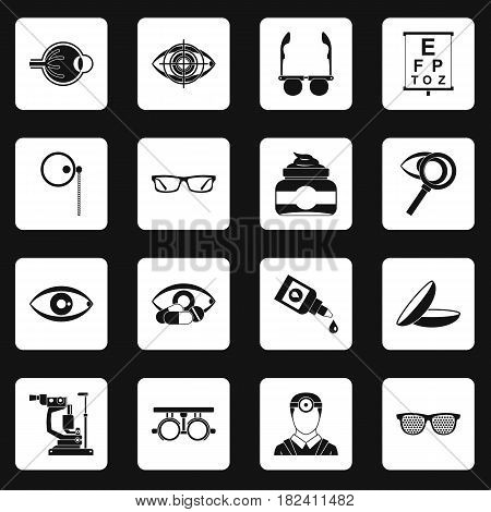 Ophthalmologist tools icons set in white squares on black background simple style vector illustration