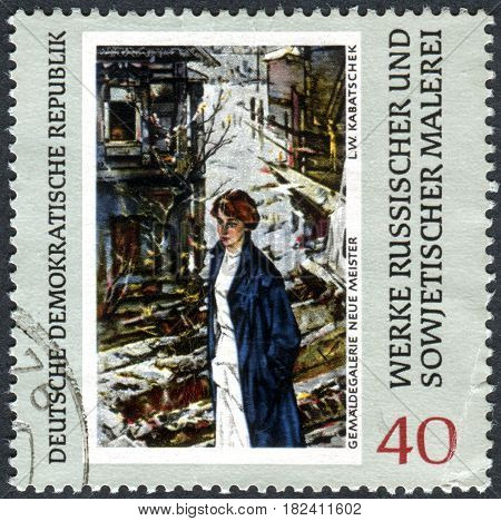 GERMANY - CIRCA 1969: A stamp printed in Germany (GDR) shows the painting Spring is Coming by L. V. Kabatchek. Collection of the Dresden Gallery circa 1969