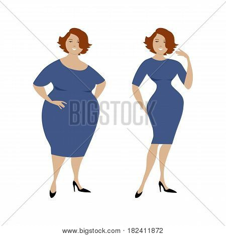 Plump woman in a blue dress isolated on a white background and the same woman after losing weight. Vector illustration.
