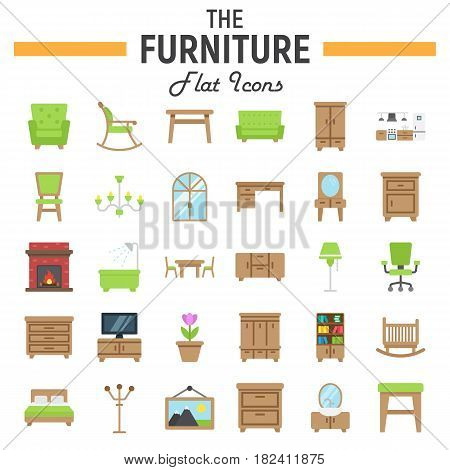 Furniture flat icon set, interior symbols collection, vector sketches, logo illustrations, colorful solid pictograms package isolated on white background, eps 10.
