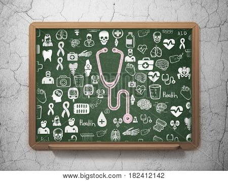 Health concept: Chalk Pink Stethoscope icon on School board background with  Hand Drawn Medicine Icons, 3D Rendering