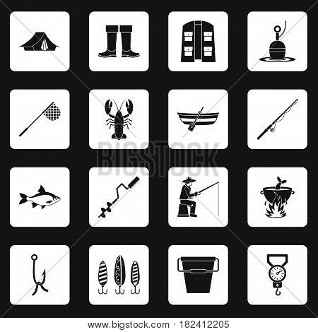 Fire fighting icons set in white squares on black background simple style vector illustration