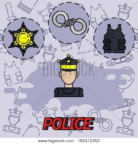 Police flat concept icon. Vector illustration, EPS 10