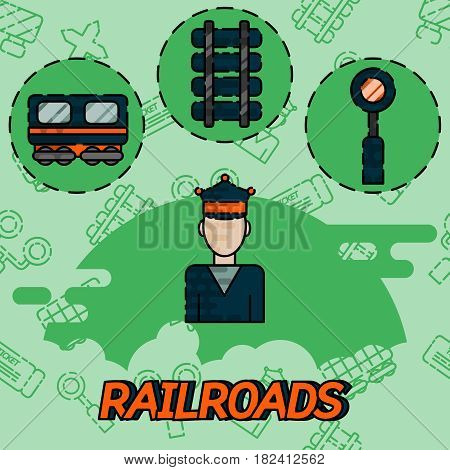 Railroads flat concept icons. Train and conductor, transport and railroad, vector illustration