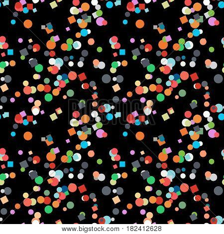 Seamless Confetti Pattern On Black Background.