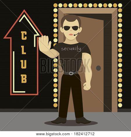 Security man standing near night club. Vector illustration, EPS 10