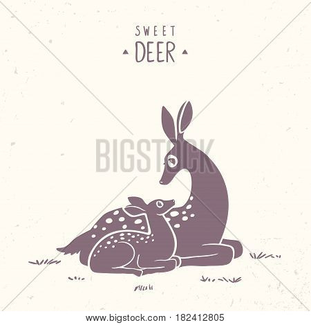 Silhouette of beautiful and cute cartoon deers. New born Fawn with Mom. Vector illustration