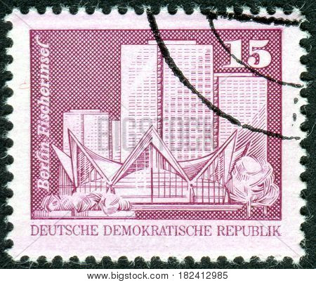 GERMANY - CIRCA 1973: A stamp printed in Germany (GDR) shows the Fisherman's Island Berlin circa 1973
