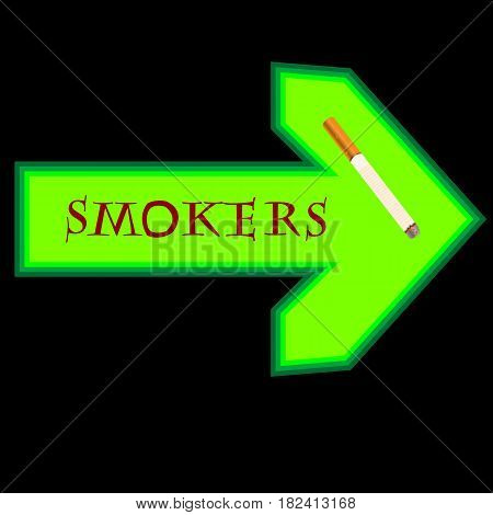 Green banner for smokers with arrow pointing right for public spaces