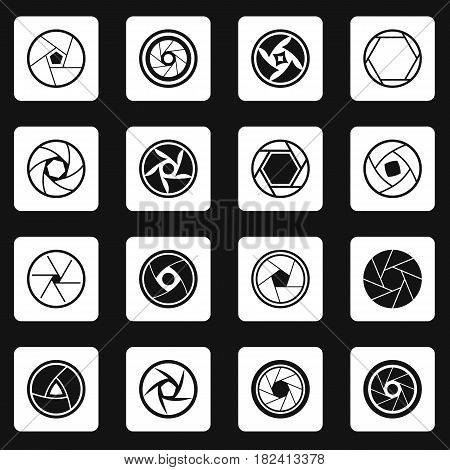 Photo diaphragm set in white squares on black background simple style vector illustration