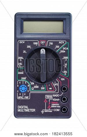 Digital multimeter in a black color casing isolated on white background