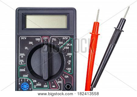 Digital multimeter with probes closeup isolated on white background
