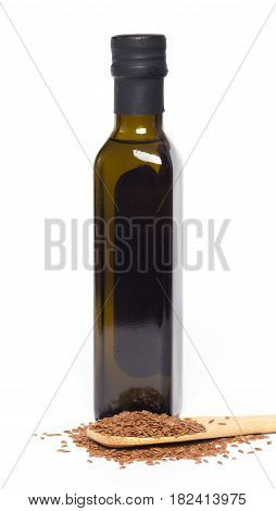 Flax oil and flax seeds isolated on white background