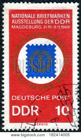 GERMANY - CIRCA 1969: A stamp printed in Germany (GDR) dedicated to National Philatelic Exhibition