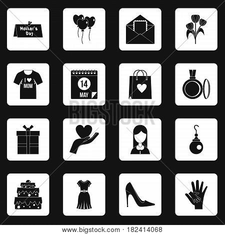Mothers day icons set in white squares on black background simple style vector illustration
