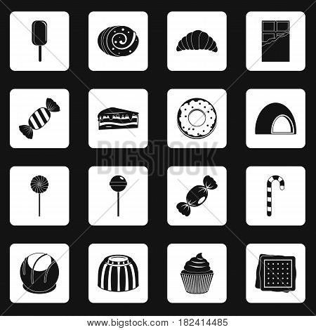 Sweets and candies icons set in white squares on black background simple style vector illustration