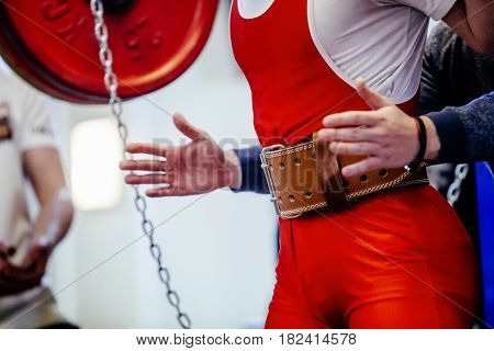 athlete powerlifter safety chain squat barbell competitions in powerlifting