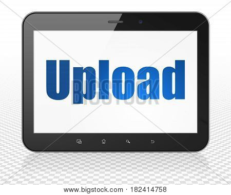 Web design concept: Tablet Pc Computer with blue text Upload on display, 3D rendering