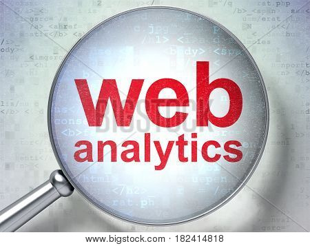 Web design concept: magnifying optical glass with words Web Analytics on digital background, 3D rendering