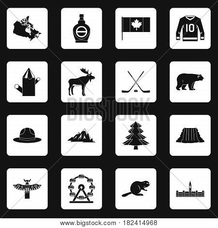 Canada travel icons set in white squares on black background simple style vector illustration