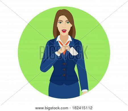 Businesswoman puts the business-card in his pocket. Portrait of businesswoman character in a flat style. Vector illustration.