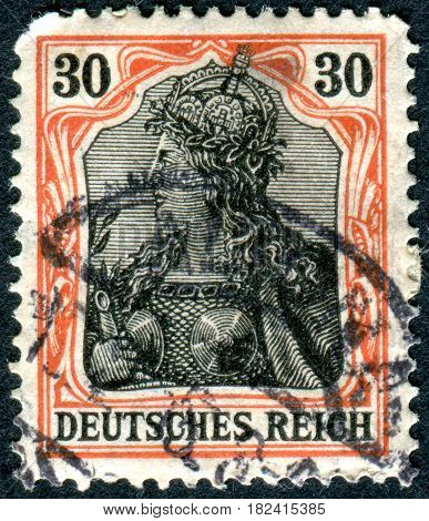 GERMANY - CIRCA 1902: A stamp printed in Germany (Deutsches Reich) shows a allegory Germania with imperial crown circa 1902