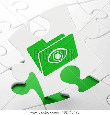 Business concept: Folder With Eye on White puzzle pieces background, 3D rendering