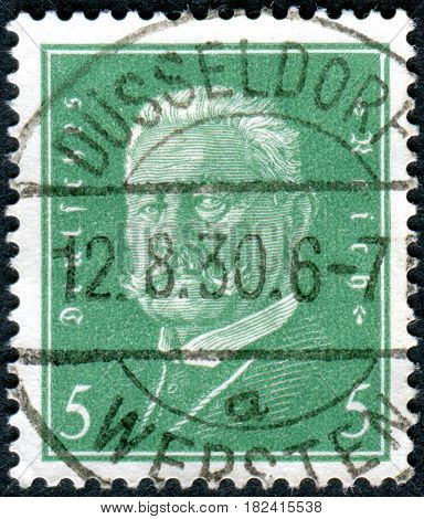 GERMANY - CIRCA 1928: A stamp printed in Germany (Deutsches Reich) shows a portrait of the President of the German Reich Paul von Hindenburg circa 1928