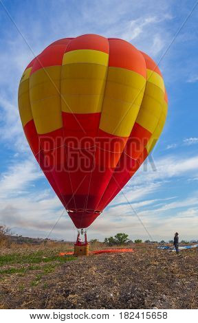 Hot air Balloon Mexicano in the morning with sun