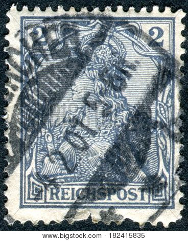 GERMANY - CIRCA 1900: A stamp printed in Germany (Deutsches Reich) shows a allegory Germania with imperial crown circa 1900