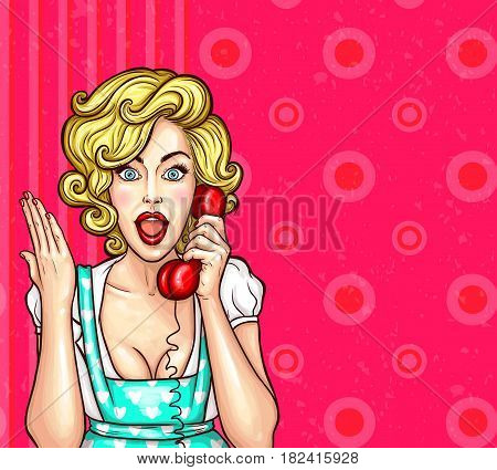 Vector pop art illustration of an excited surprised blond woman with a telephone receiver in her hand. Excellent advertising poster with the announcement of discounts and sales