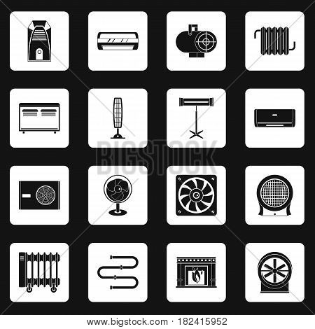 Heating cooling air icons set in white squares on black background simple style vector illustration