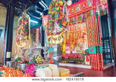 Macau - Dec 14 2015: Kun Iam Tong Temple. A Famous Historic Sites In Macau.