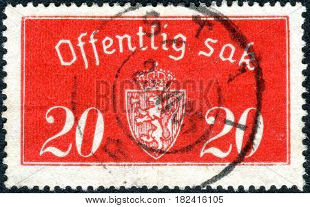 NORWAY - CIRCA 1938: A stamp printed in the Norway shows the coat of arms circa 1938