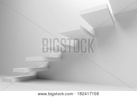 Ascending stairs of rising staircase going upward in white empty room closeup view abstract white 3d illustration. Business growth progress way and forward achievement creative concept.