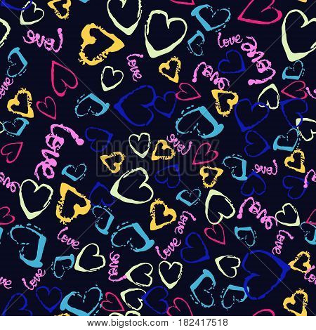 Vector colorful seamless pattern with brush strokes and dots. Pink blue yellow green color on black background. Hand painted grunge texture. Ink hearts elements. Fashion modern style. Fantasy.
