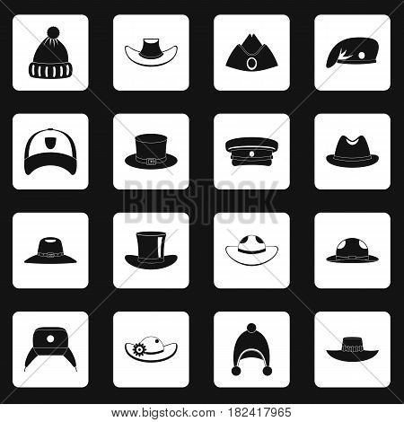 Headdress hat icons set in white squares on black background simple style vector illustration