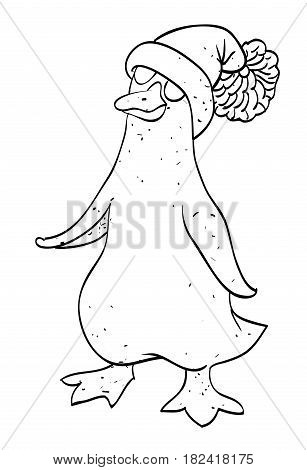 Cartoon image of penguin wearing hat. An artistic freehand picture.